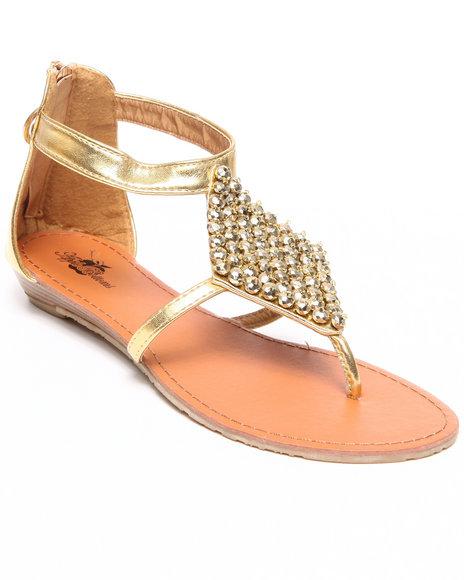 Apple Bottoms Women Gold Sinnia Studded Trim Thong Sandal