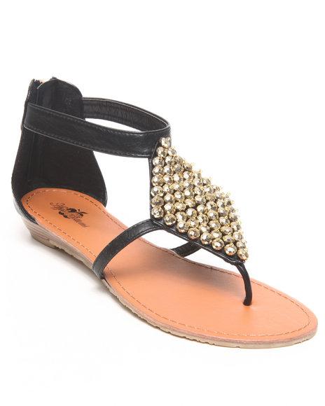 Apple Bottoms Women Black Sinnia Studded Trim Thong Sandal