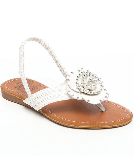 La Galleria Girls White T-Back Strap Sandal W/Flower Stones