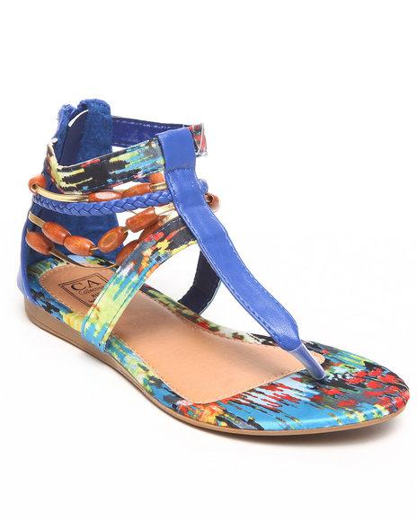La Galleria Girls Blue T Back Sandal W/Print Beads Braid