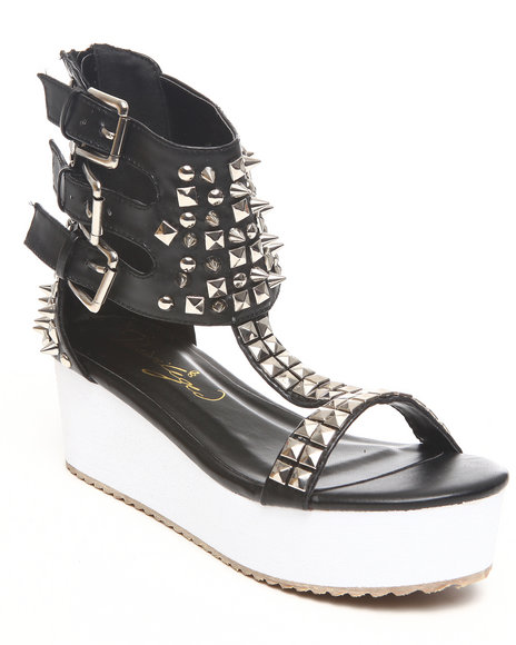 Fashion Lab Women Black Bambola Studded Platform Sandal