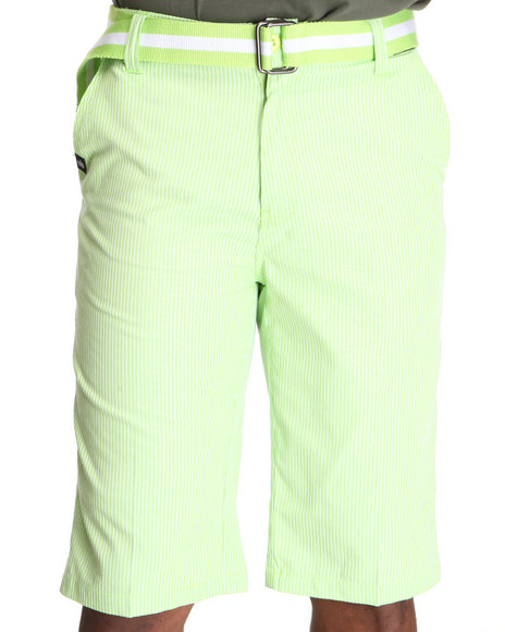 Miskeen Men Lime Green,Yellow Pin Striped Chino Shorts W/Belt