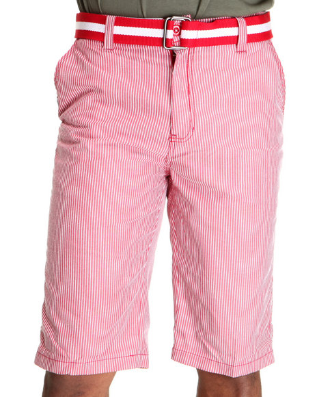 Miskeen Men Red Pin Stripped Chino Shorts W/Belt
