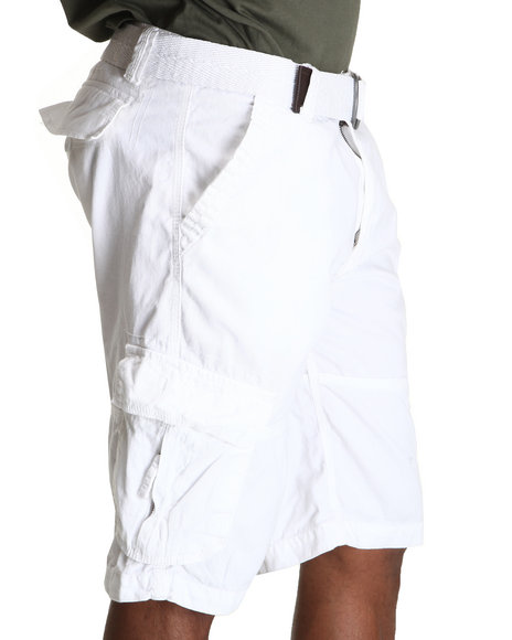 Buyers Picks Men White Belted Washed Cargo Shorts