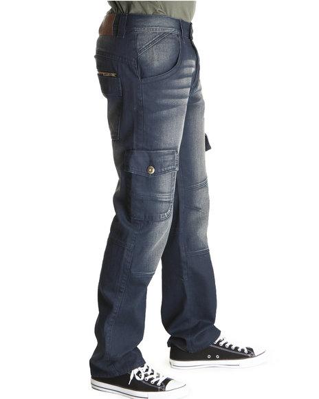 A Tiziano Men Navy Bali Straight Fit Cargo Pants