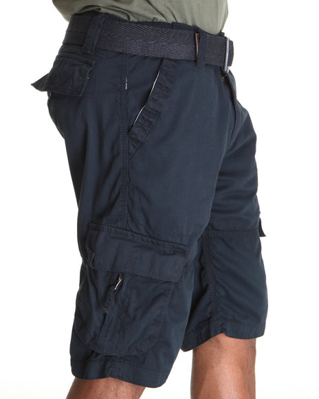 Buyers Picks Men Navy Belted Washed Cargo Shorts
