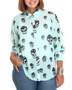 Polos & Button-Downs - Skull High Low Top (Plus)