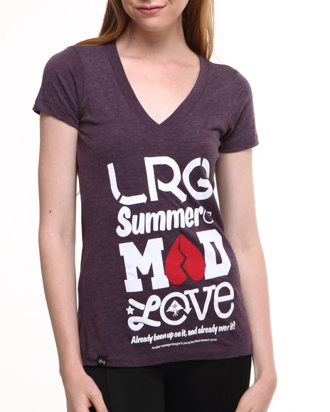 LRG Women Dark Purple Mad Love Deep V-Tee