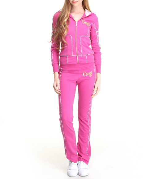 COOGI Women Pink Coogi Lace Print Sweat Set W/Pants Hoodie