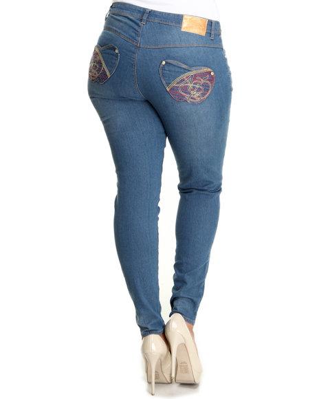 Apple Bottoms Women Medium Wash Red Topstitched Logo Initials Skinny Jean (Plus Size)