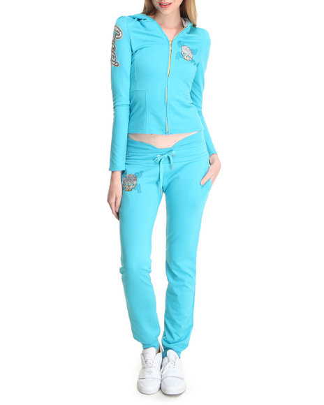 COOGI Women Blue Coogi Skull Group Sweat Sets