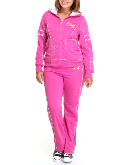 COOGI Women Pink Coogi Lace Print Sweat Set W/Pants Hoodie (Plus Size)