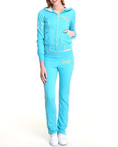 COOGI Women Blue Coogi Lace Print Sweat Set W/Pants Hoodie