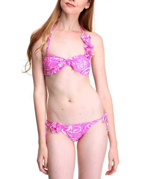 Drj Swim Shoppe - Women Pink,White Paisley Two Piece Swim Suit Set - $16.99