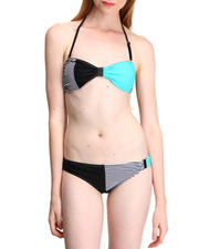 Swimwear - 2-Piece Stripe Color Blocked Swim Suit