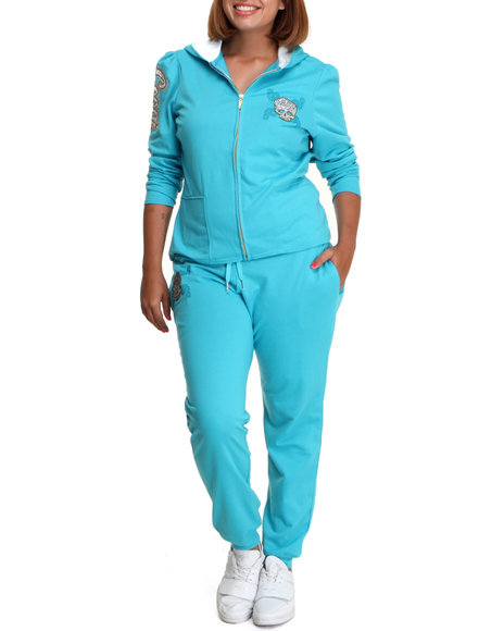 COOGI Women Blue Coogi Skull Group Sweat Set (Plus Size)
