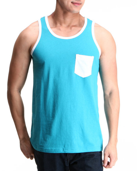 Buyers Picks - Men Blue Pocket Contrast Tank Top