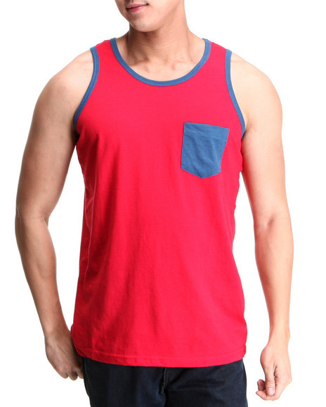 Buyers Picks Men Red Pocket Contrast Tank Top
