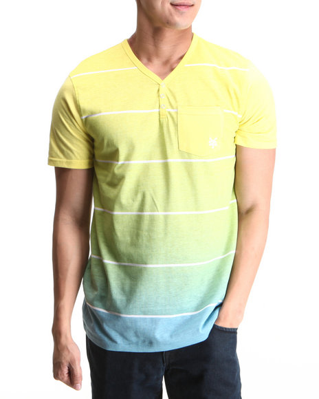 Zoo York Men Yellow Side Band Henley Chest Pocket Tee