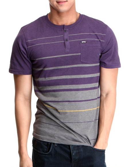 Zoo York Men Grey,Purple Beacon Knit Henley Tee
