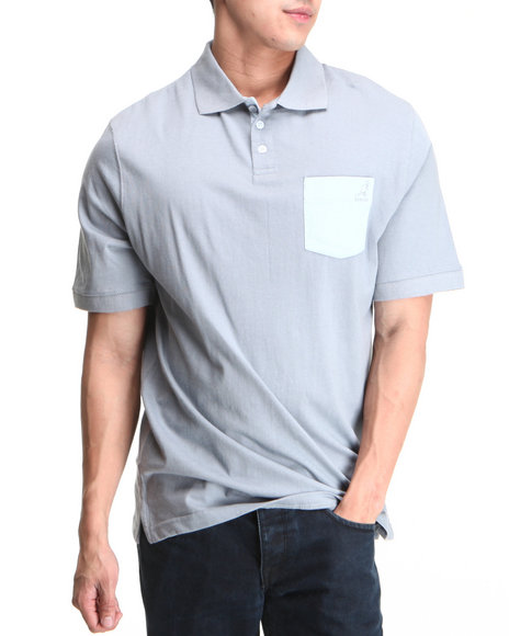 - Light Blue,Light Grey Colored Blocked Jersey Polo