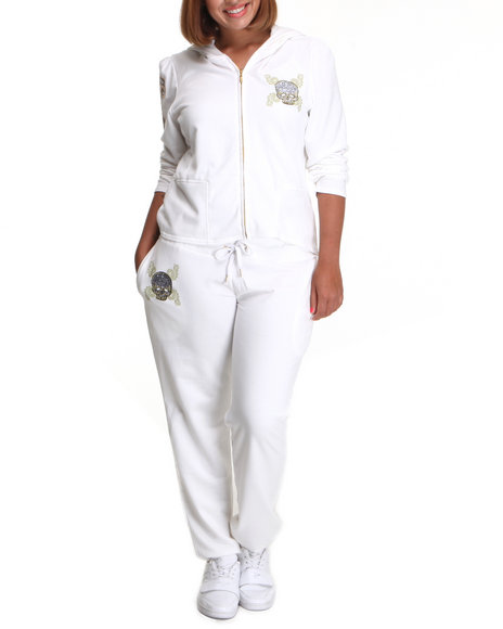 COOGI Women White Coogi Skull Group Sweat Set (Plus Size)