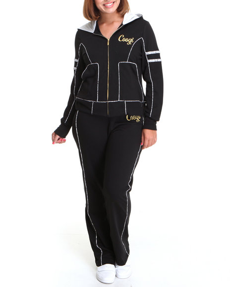COOGI Women Black Coogi Lace Print Sweat Set W/Pants Hoodie (Plus Size)
