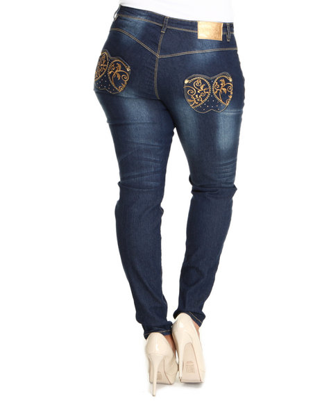 Apple Bottoms Women Light Wash Gold Embroidery Pocket Skinny Jean (Plus Size)