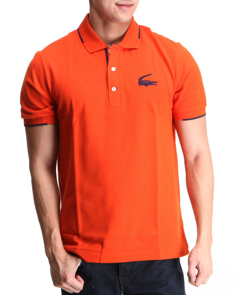 Lacoste - Men Orange S/S Retro Croc Semi Fancy Pique Polo