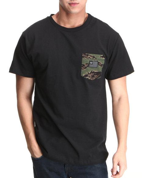 Wu-Tang Limited Men Black,Camo Iron Flag Pocket T-Shirt