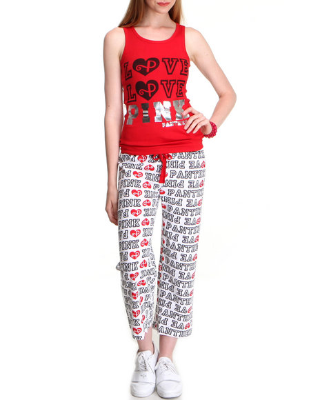 Graphix Gallery Women Red,White Pink Panther Knit Tank & Capri Set