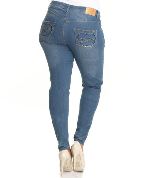 Apple Bottoms Women Blue Raised Embroidery Square Pocket Distressed Skinny Jean (Plus Size)