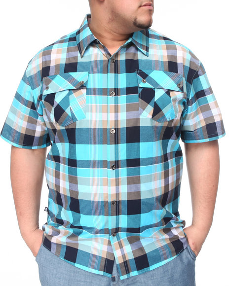Miskeen Men Light Blue,Navy Plaid Woven Short Sleeve Woven (B+T)