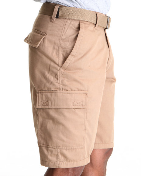 Basic Essentials Men Khaki Belted Cargo Shorts