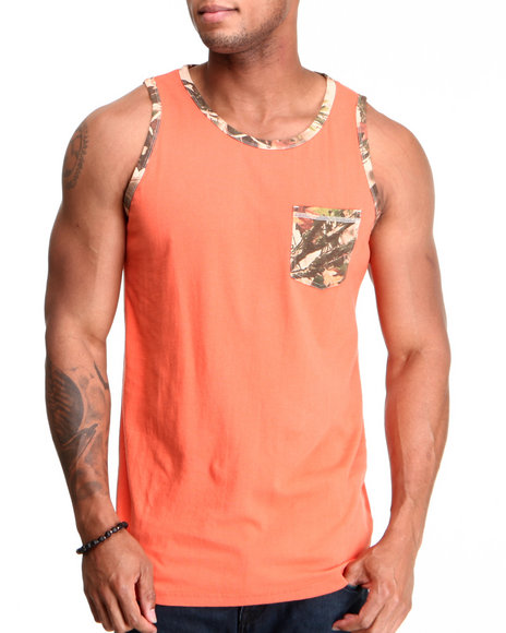 Buyers Picks Men Orange Camo Pocket Tank Top