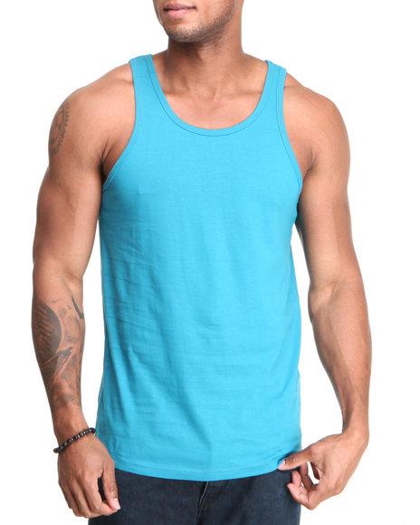 Buyers Picks - Men Blue Basic Solid Tank Top