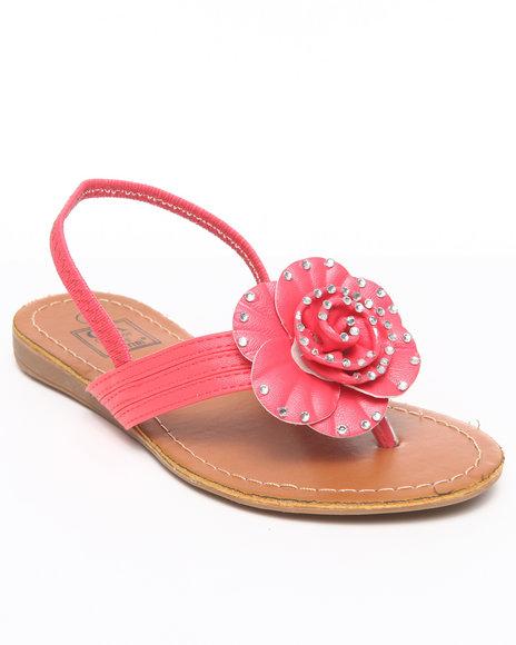 La Galleria Girls Pink T-Back Strap Sandal W/Flower Stones