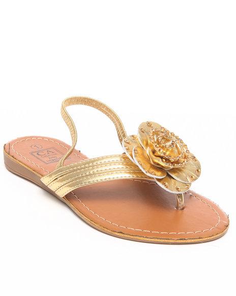 La Galleria Girls Gold T-Back Strap Sandal W/Flower Stones