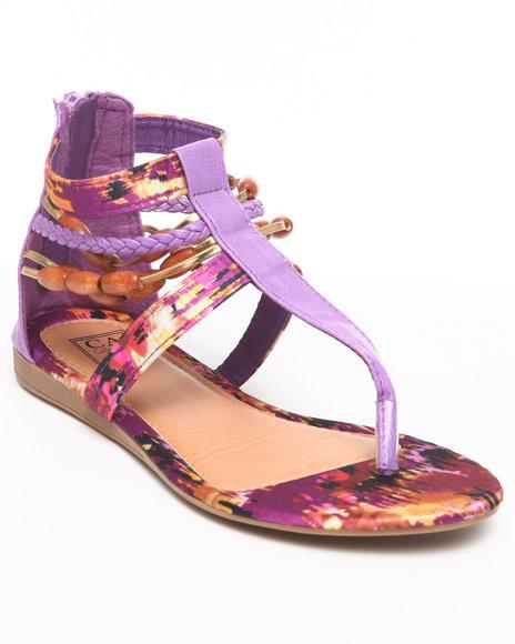 La Galleria Girls Purple T Back Sandal W/Print Beads Braid