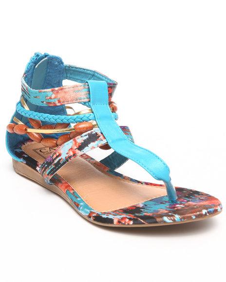 La Galleria Girls Blue T Back Sandal W/Print Beeds Braid