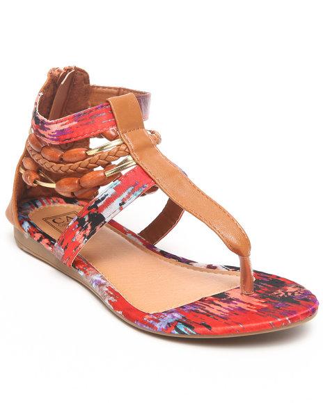 La Galleria Girls Orange T Back Sandal W/Print Beads Braid