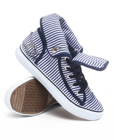 Apple Bottoms Women Navy Nialla Striped Canvas Sneaker
