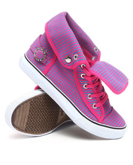 Apple Bottoms Women Pink Nailla Striped Canvas Sneaker