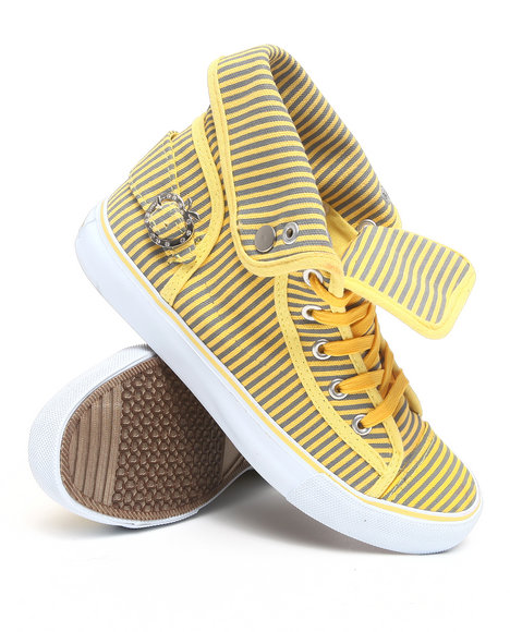 Apple Bottoms - Women Yellow Nialla Striped Canvas Sneaker