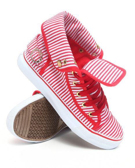 Apple Bottoms Women Red Nialla Striped Canvas Sneaker