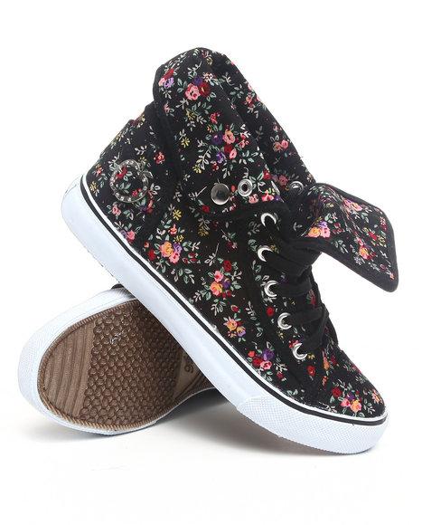 Apple Bottoms Women Black Blossom Floral Fold Down Canvas Sneaker