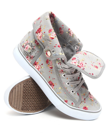 Apple Bottoms Women Grey Blossom Floral Fold Down Canvas Sneaker