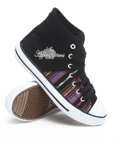 Apple Bottoms - Women Black Kivo Aztec Trim Canvas Sneaker - $19.99