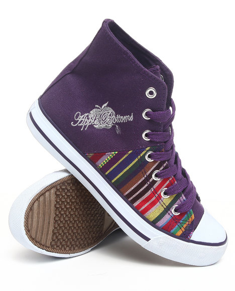 Apple Bottoms - Women Purple Kivo Aztec Trim Canvas Sneaker - $17.99