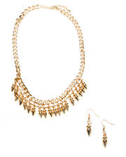 DJP Boutique - CRYSTAL & SPIKES NECKLACE WITH EARRINGS